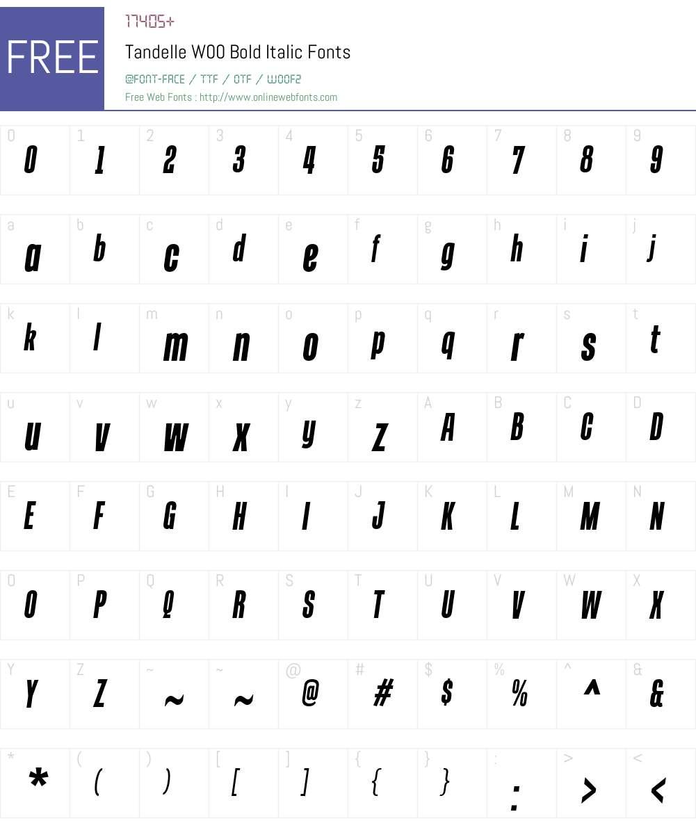 TandelleW00-BoldItalic Font Screenshots