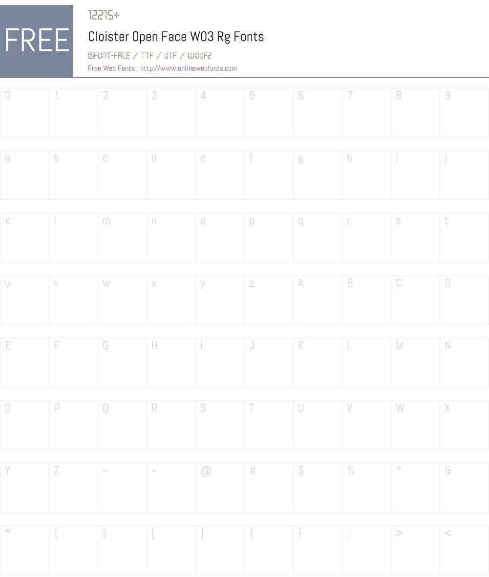 Cloister Open Face Font Screenshots