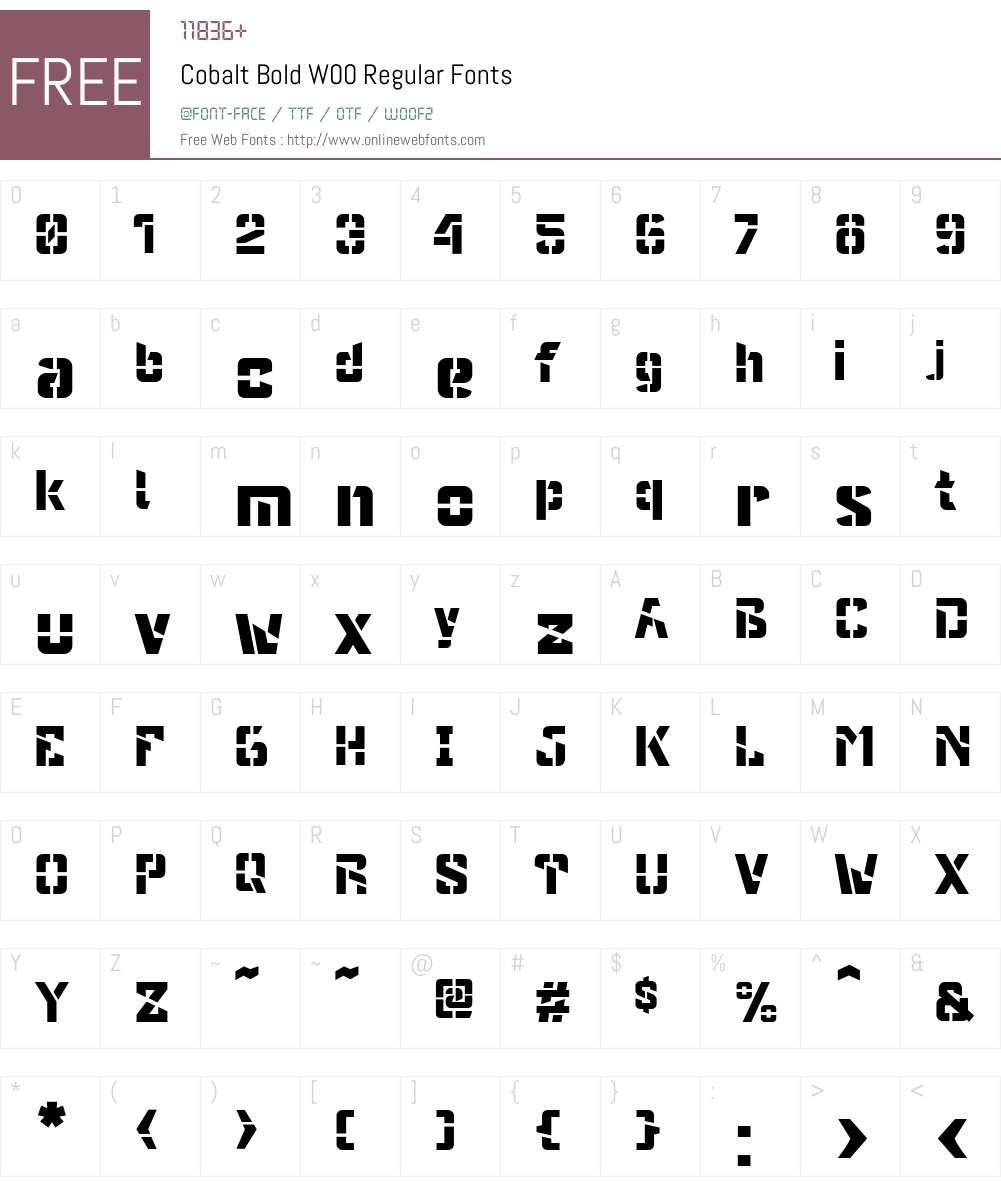 Cobalt Font Screenshots