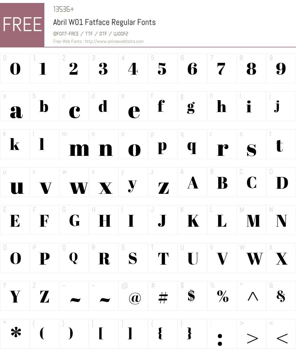 AbrilW01-FatfaceRegular Font Screenshots