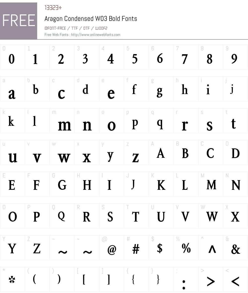 Aragon Condensed Font Screenshots
