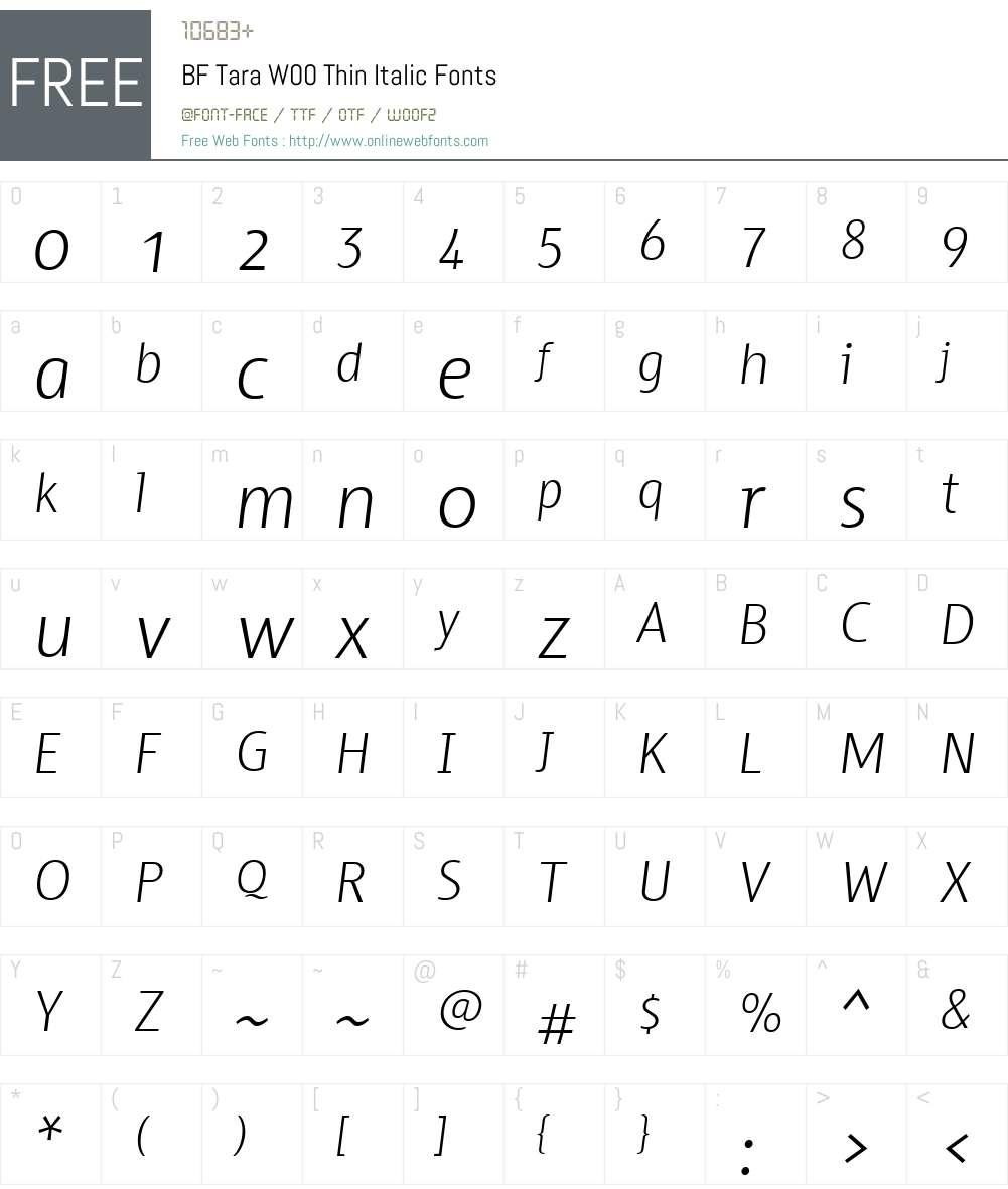 BFTaraW00-ThinItalic Font Screenshots