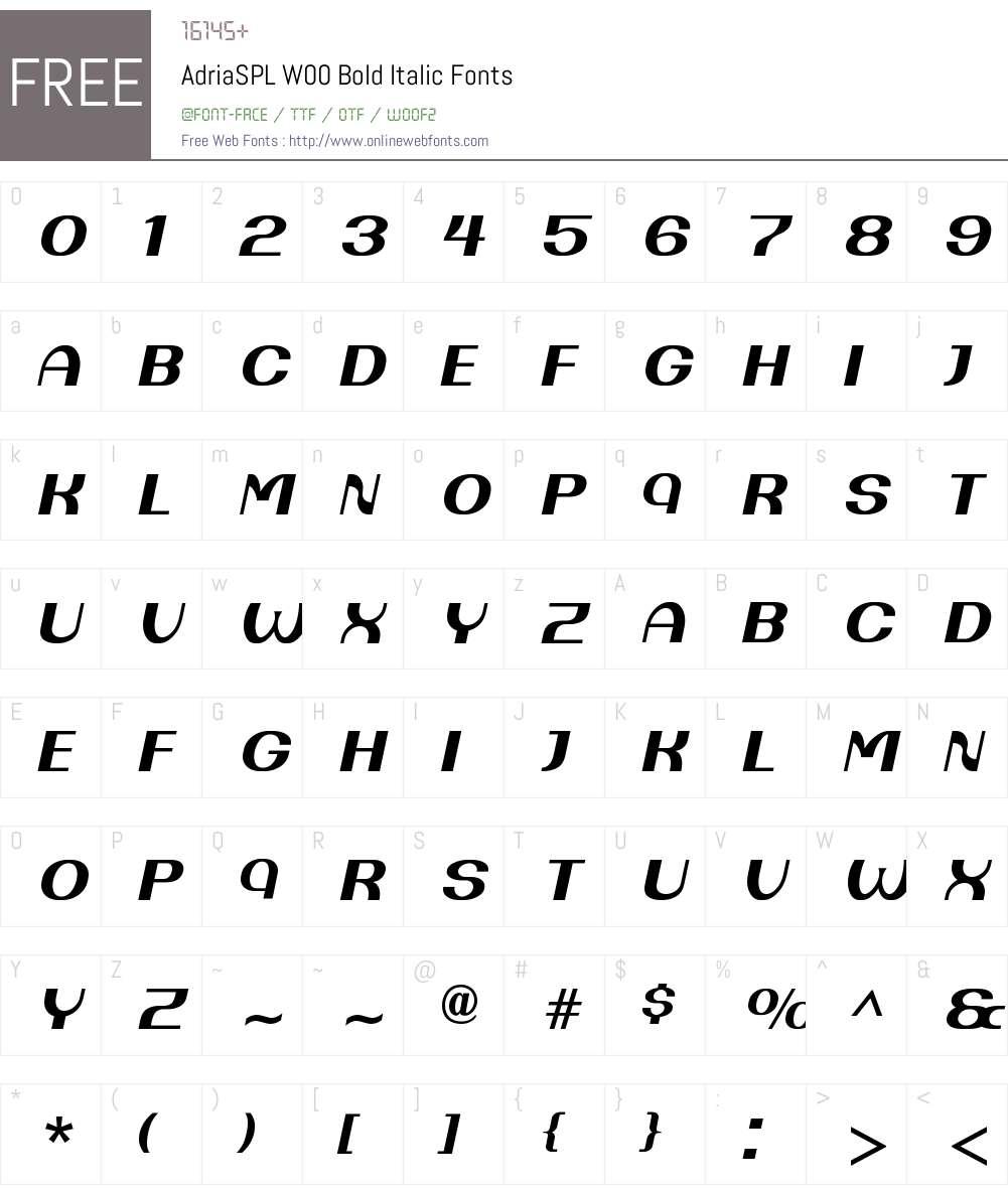 AdriaSPLW00-BoldItalic Font Screenshots
