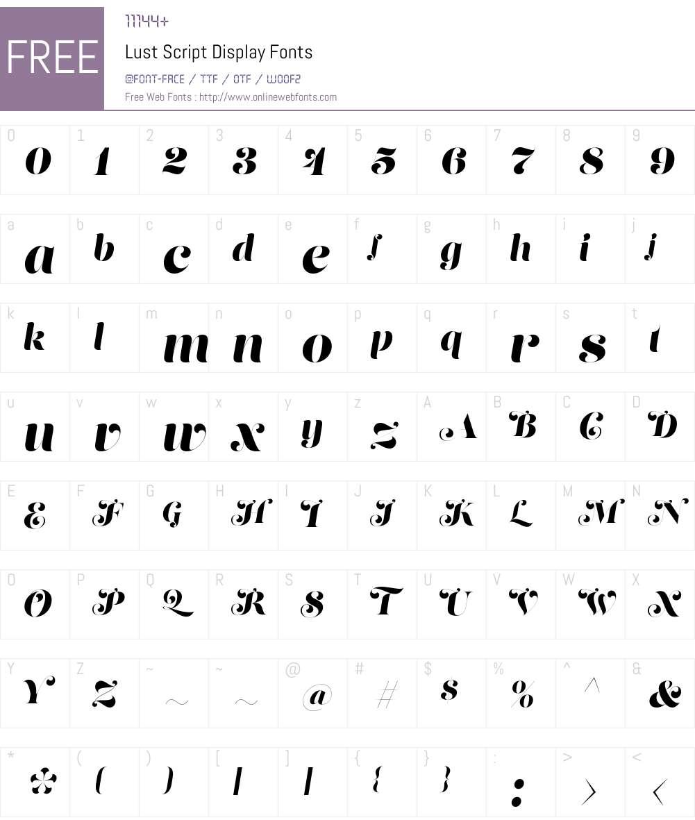 Lust Script Display Font Screenshots