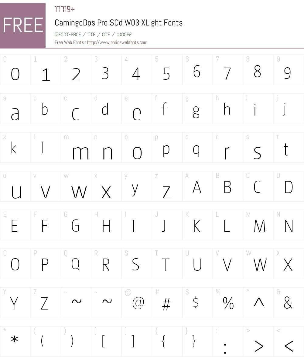 CamingoDosProSCdW03-XLight Font Screenshots