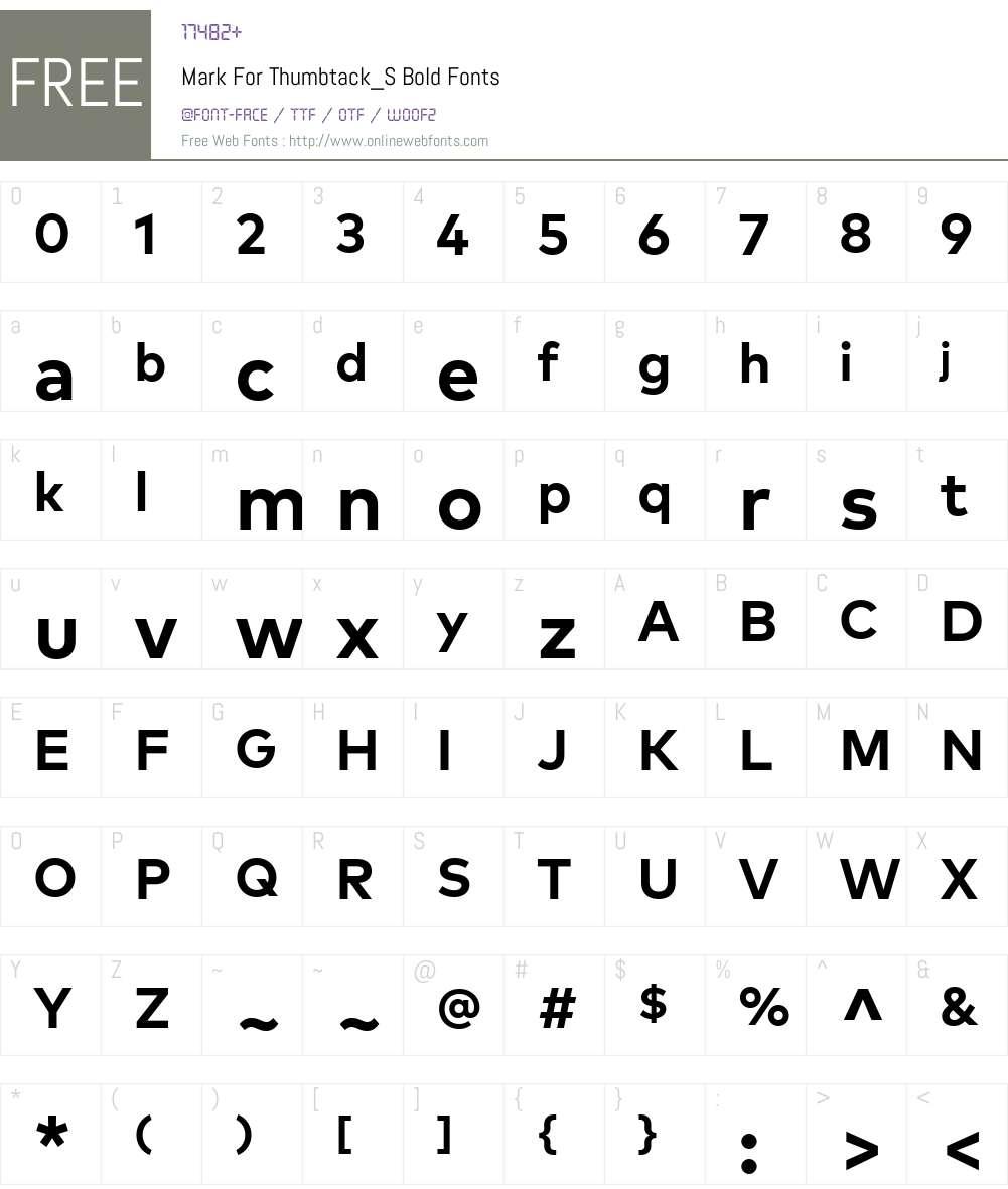 MarkForThumbtack_S-Bold Font Screenshots