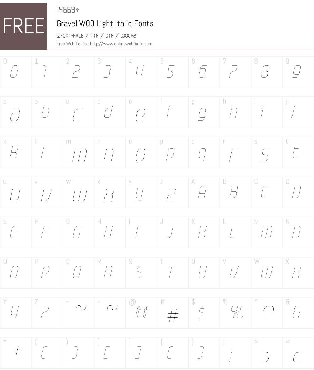 GravelW00-LightItalic Font Screenshots