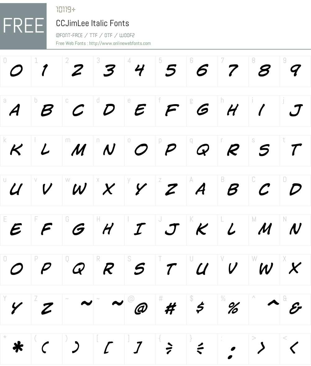 CCJimLee-Italic Font Screenshots