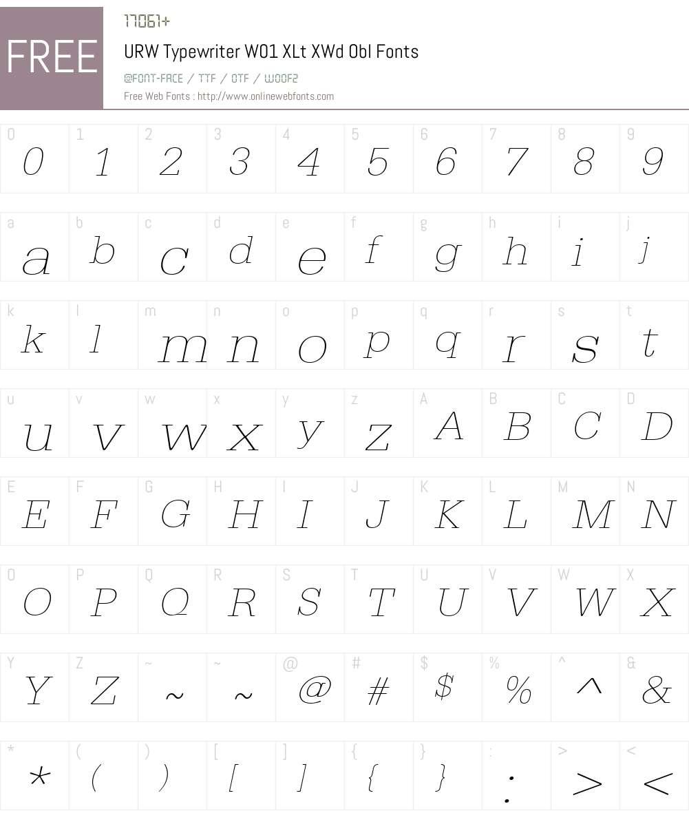 URWTypewriterW01-XLtXWdObl Font Screenshots