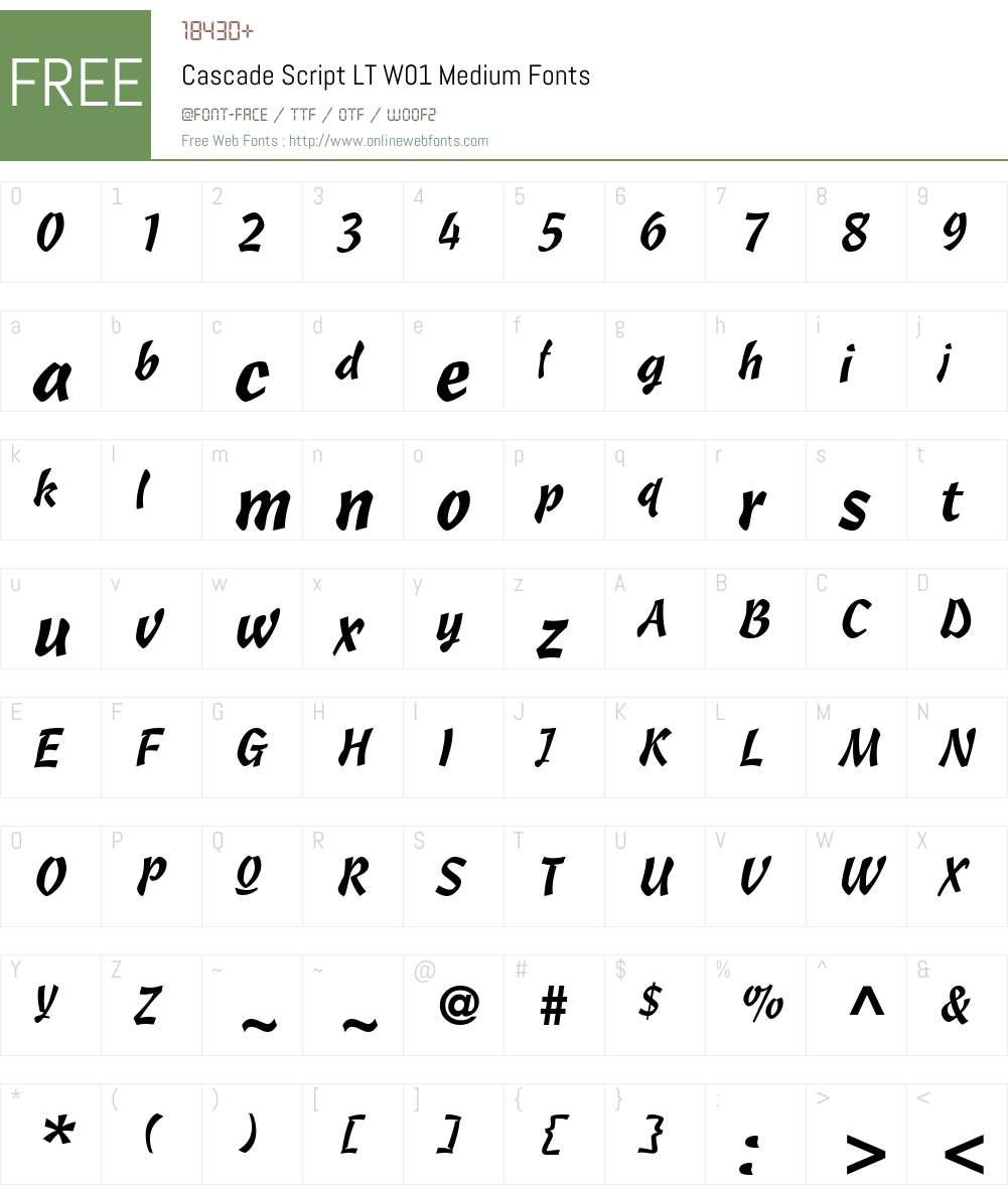 Cascade Script LT W01 Font Screenshots
