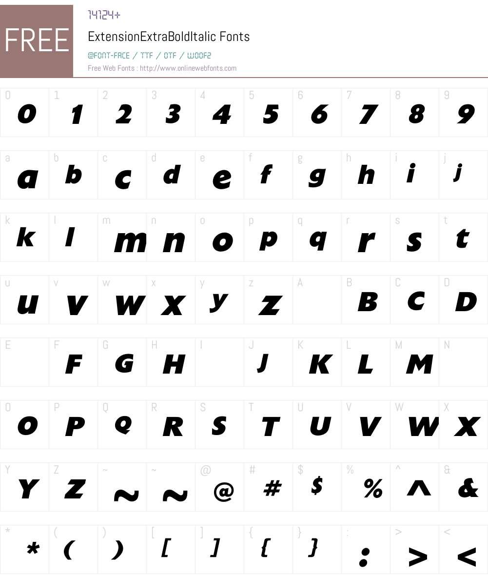 ExtensionExtraBoldItalic Font Screenshots