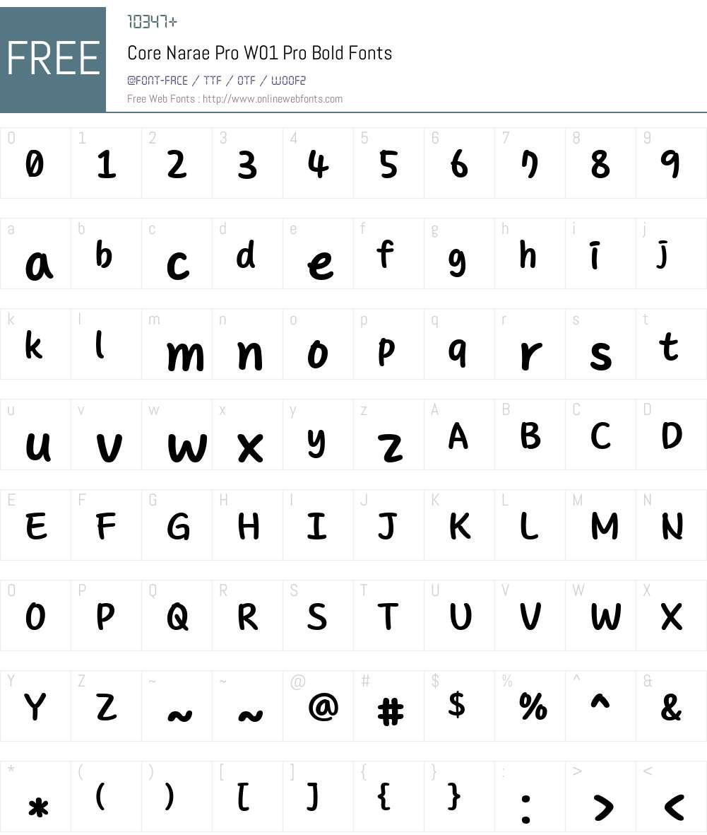 CoreNaraeProW01-ProBold Font Screenshots