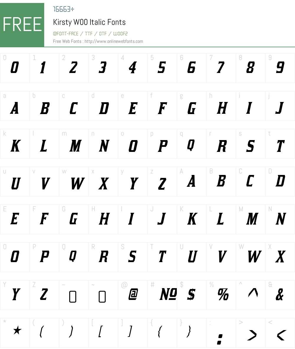 KirstyW00-Italic Font Screenshots