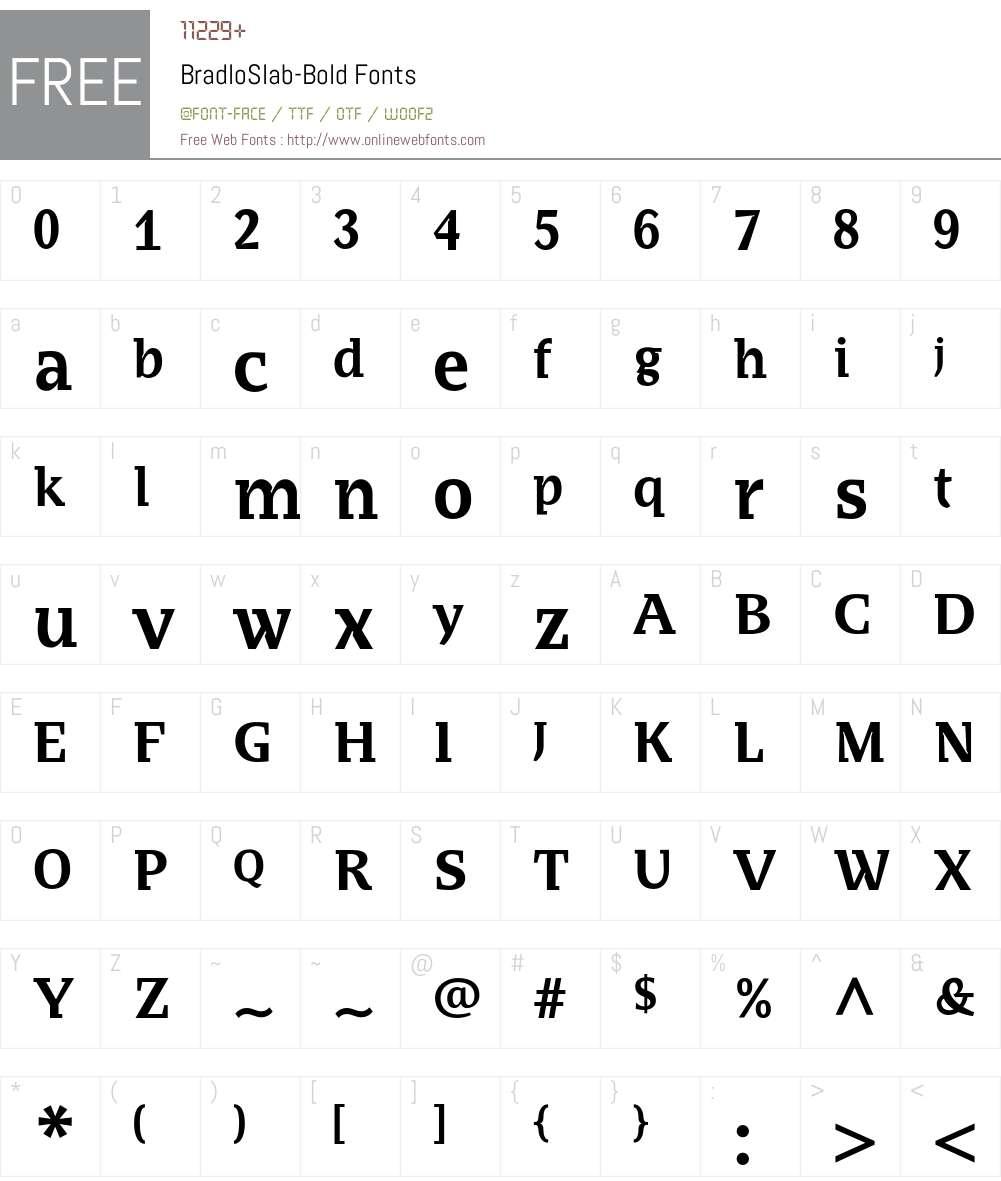 BradloSlab Font Screenshots