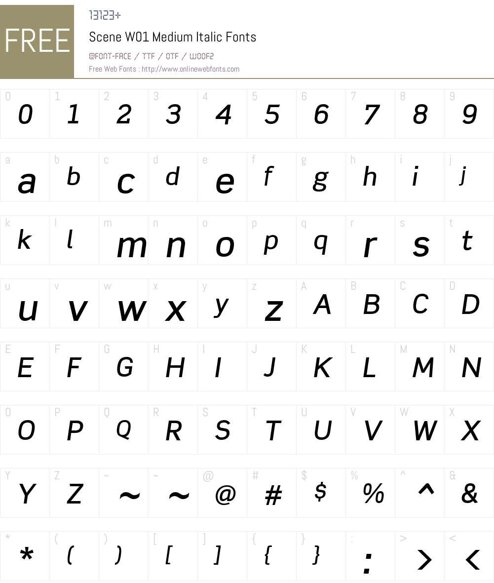 SceneW01-MediumItalic Font Screenshots