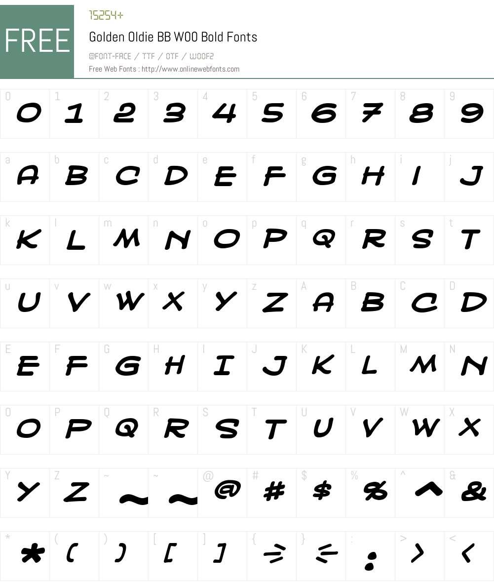 GoldenOldieBBW00-Bold Font Screenshots