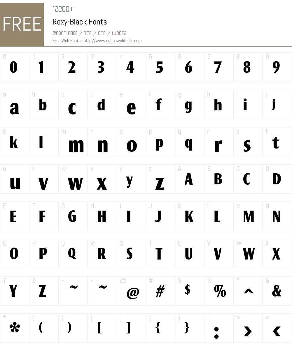 Roxy Font Screenshots