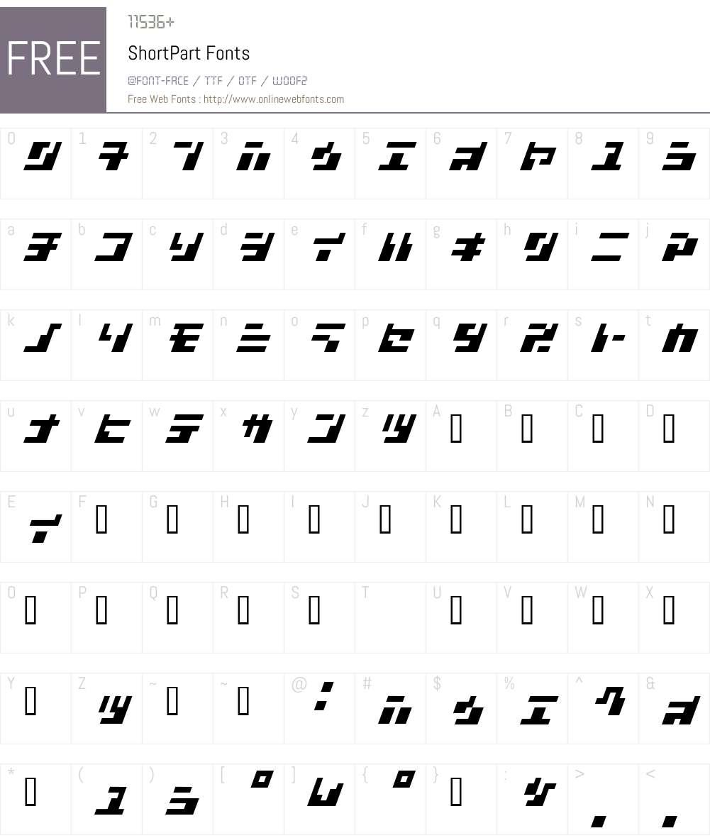 ShortPart Font Screenshots