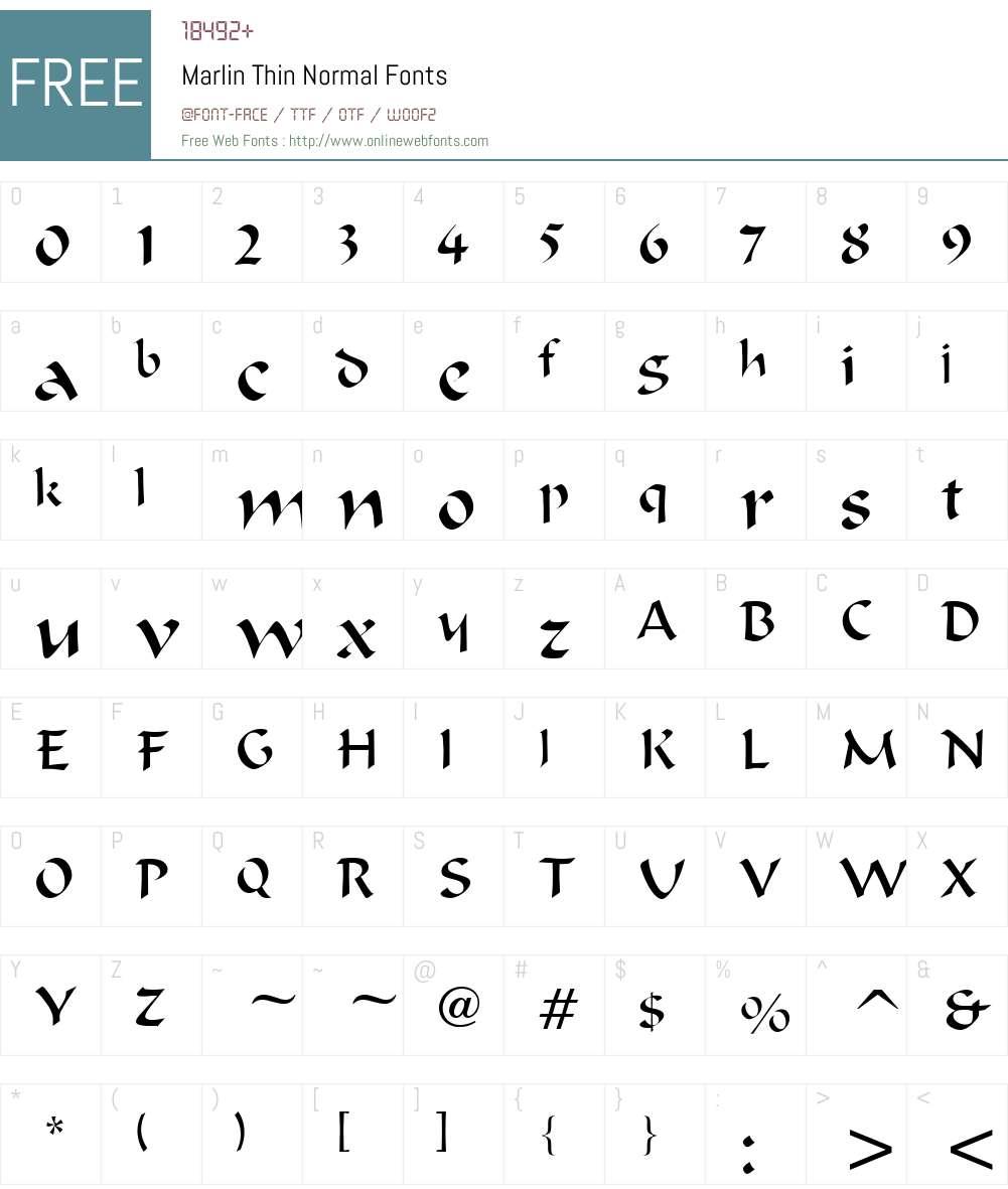 Marlin Thin Font Screenshots
