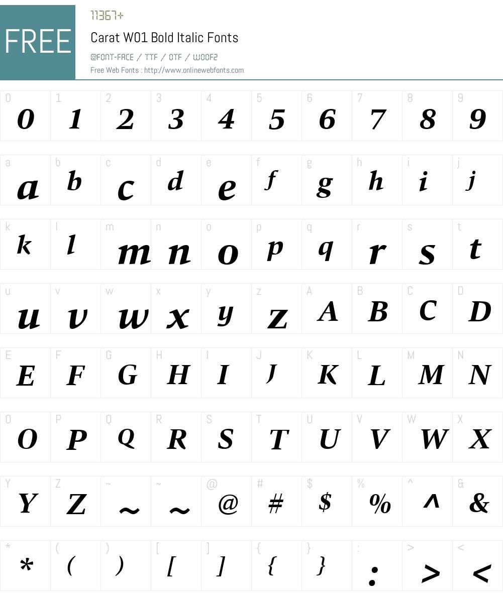 CaratW01-BoldItalic Font Screenshots