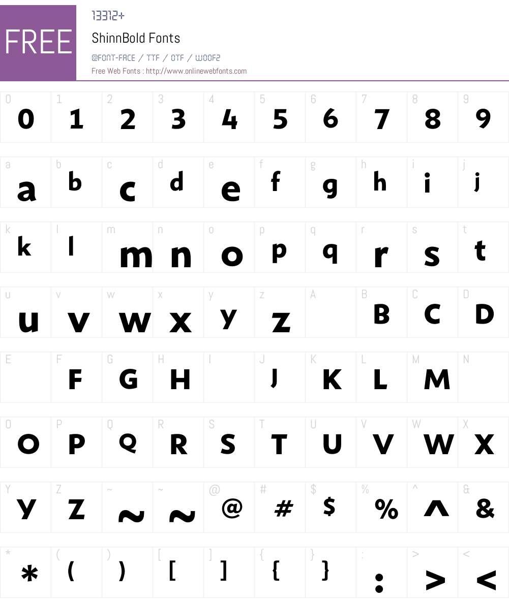 ShinnBold Font Screenshots