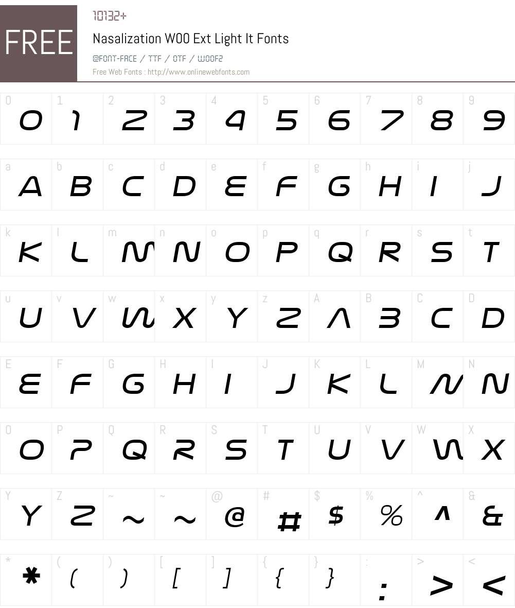 NasalizationW00-ExtLightIt Font Screenshots