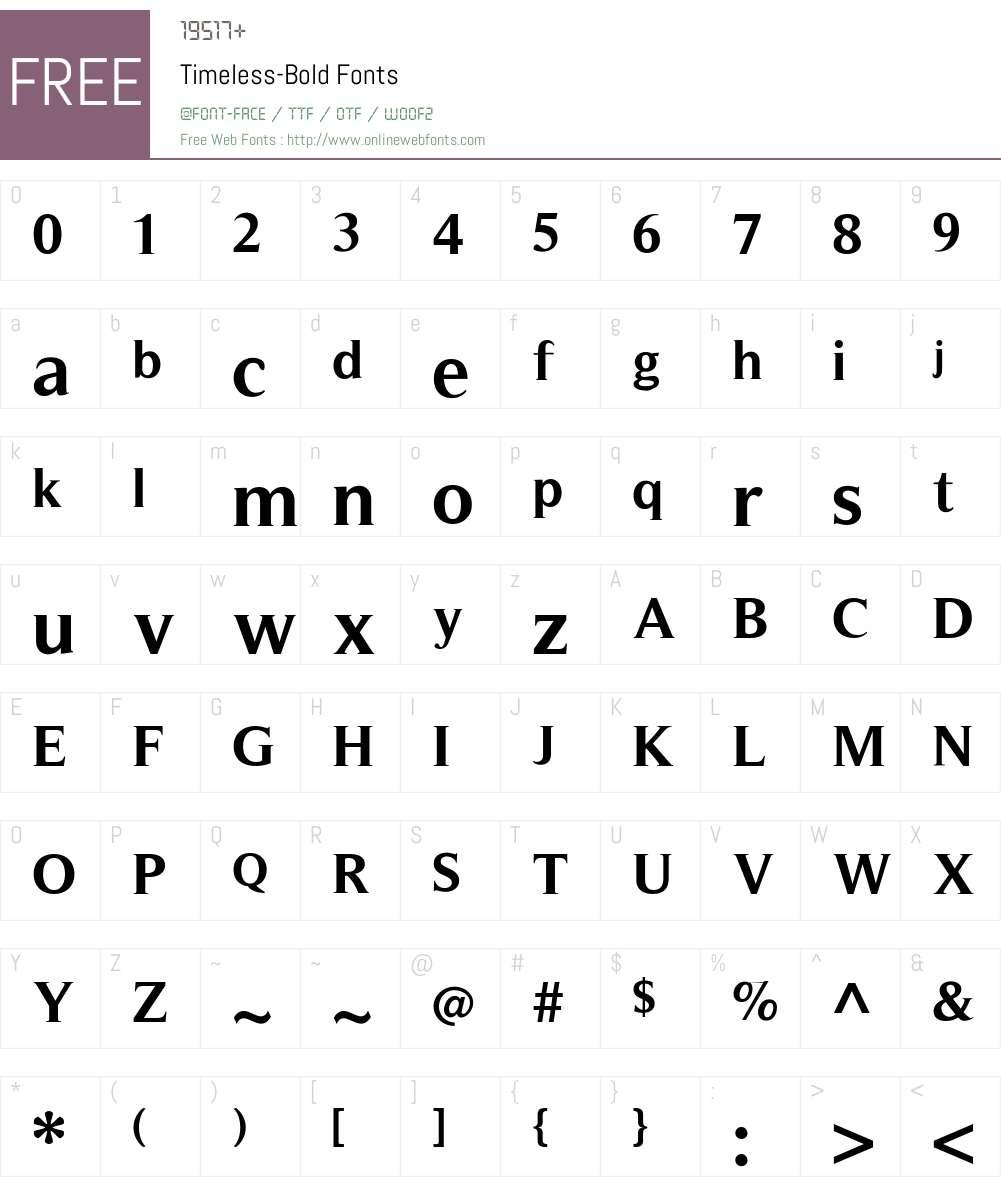 Timeless Font Screenshots