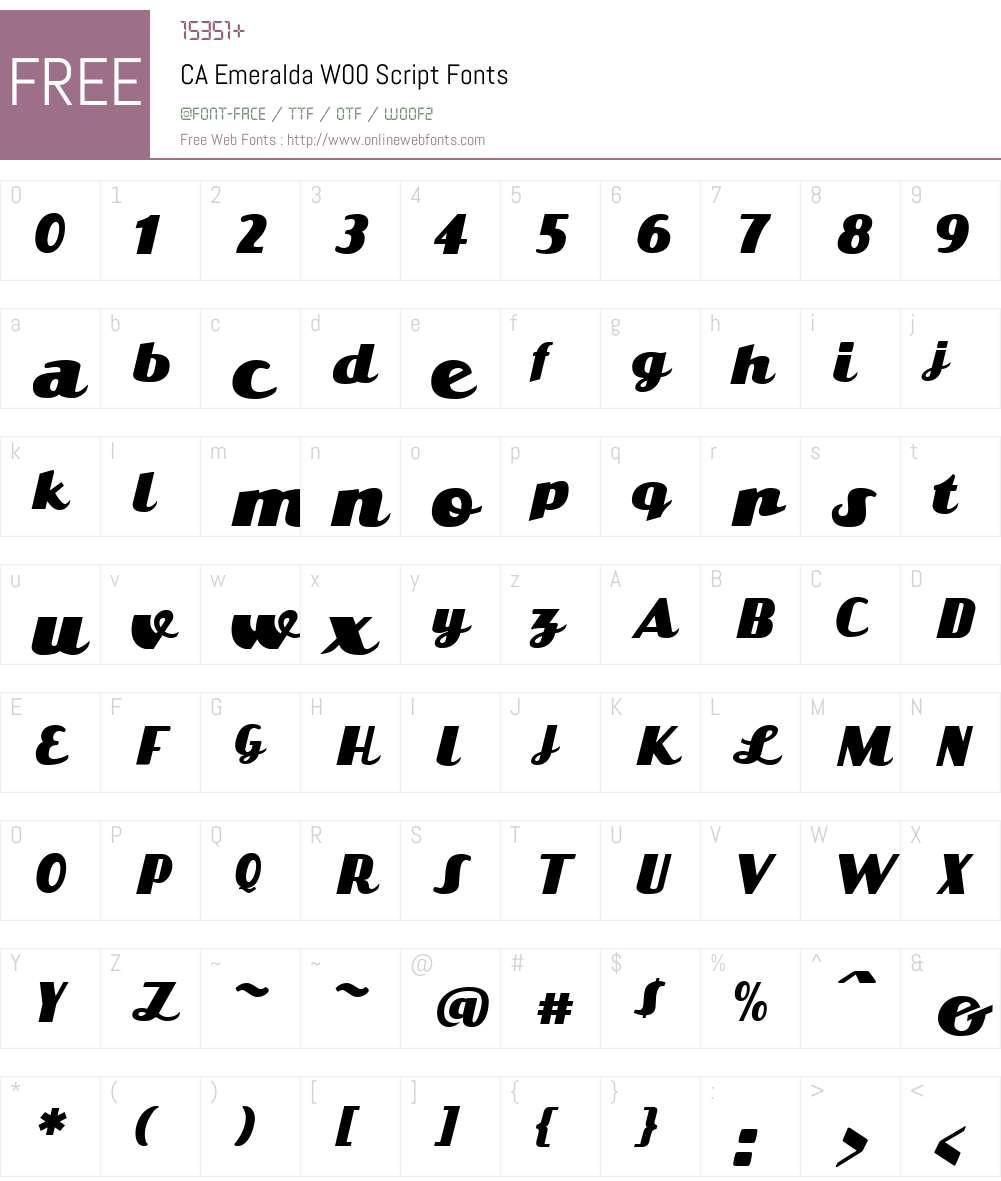 CAEmeraldaW00-Script Font Screenshots