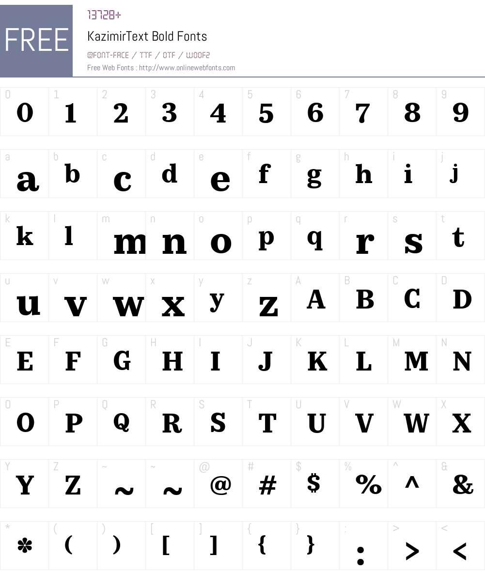 KazimirText-Bold Font Screenshots