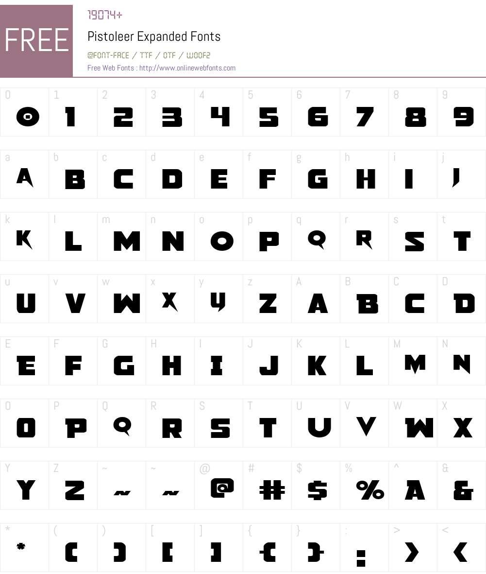 Pistoleer Expanded Font Screenshots