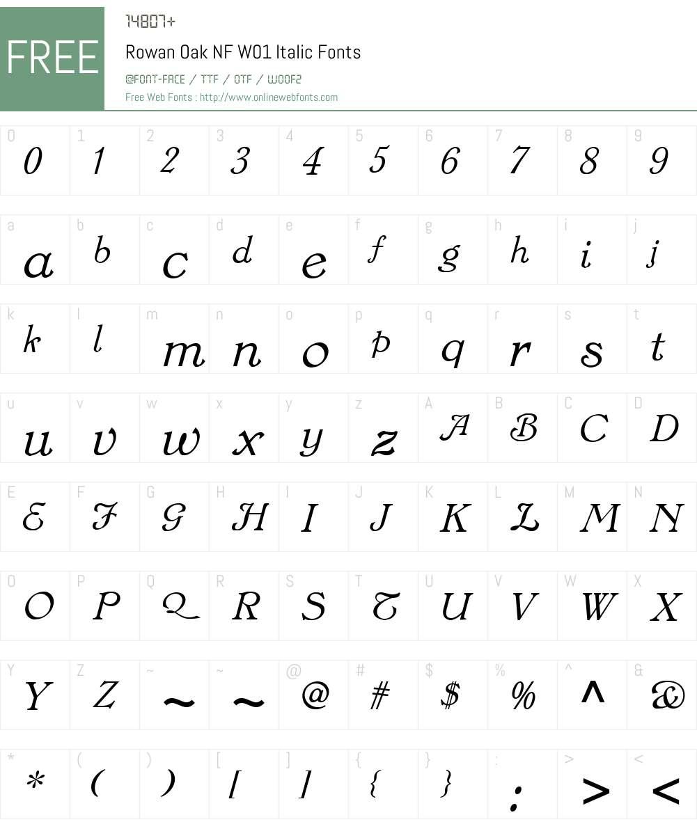 RowanOakNFW01-Italic Font Screenshots