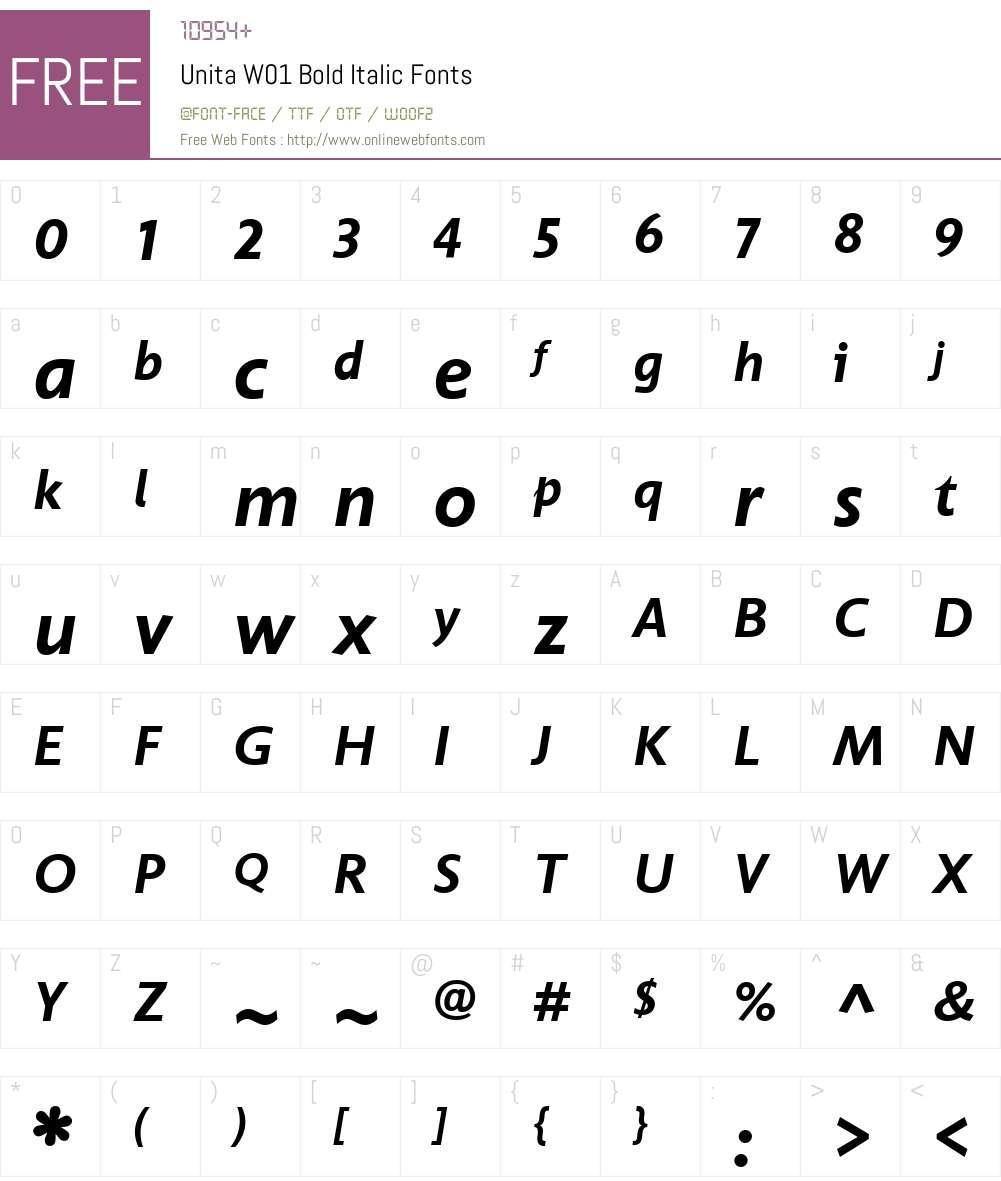 UnitaW01-BoldItalic Font Screenshots