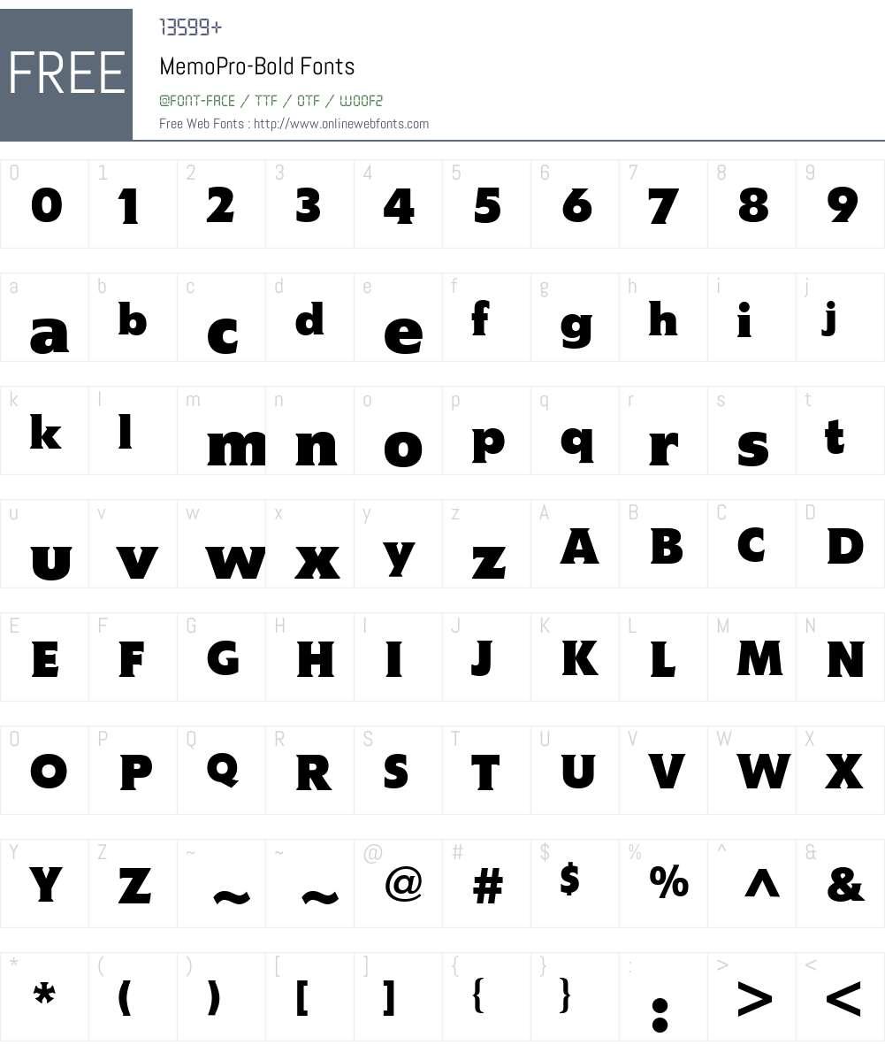 MemoPro-Bold Font Screenshots