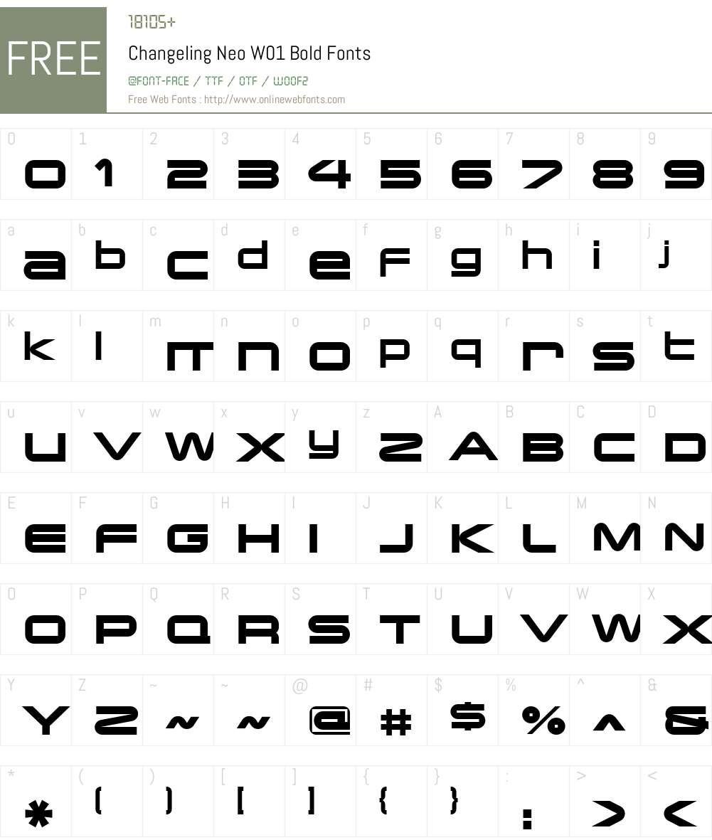 ChangelingNeoW01-Bold Font Screenshots
