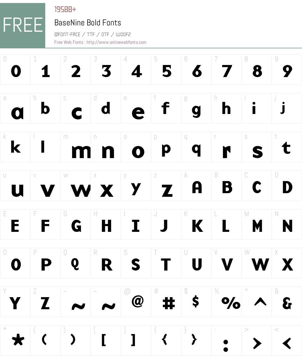BaseNine Font Screenshots