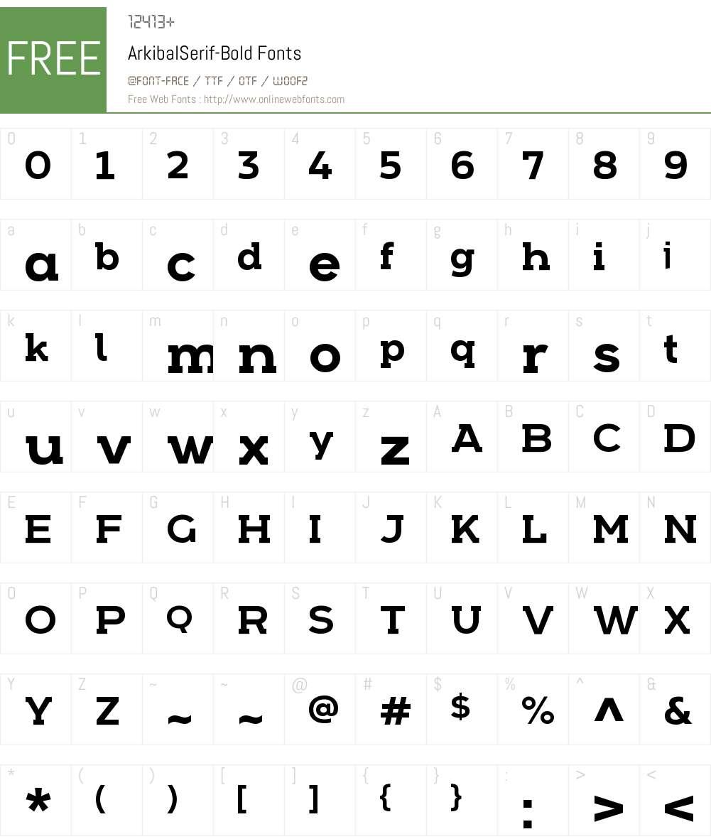 Arkibal Serif Font Screenshots