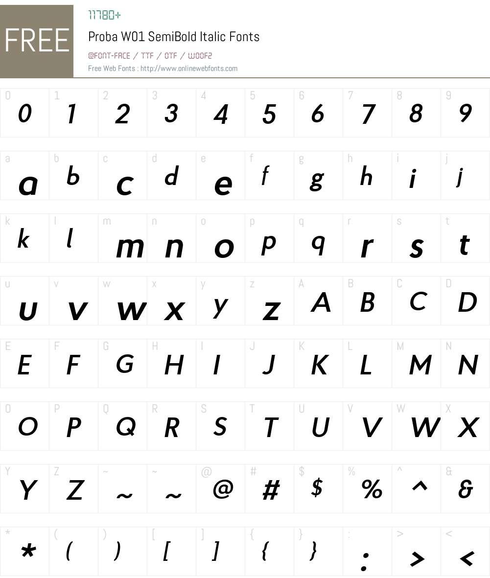 ProbaW01-SemiBoldItalic Font Screenshots