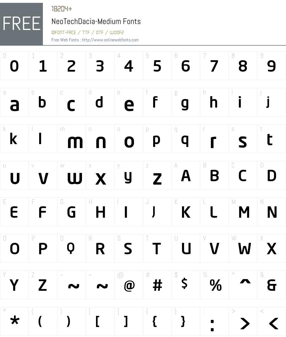 Neo Tech Dacia Medium Font Screenshots