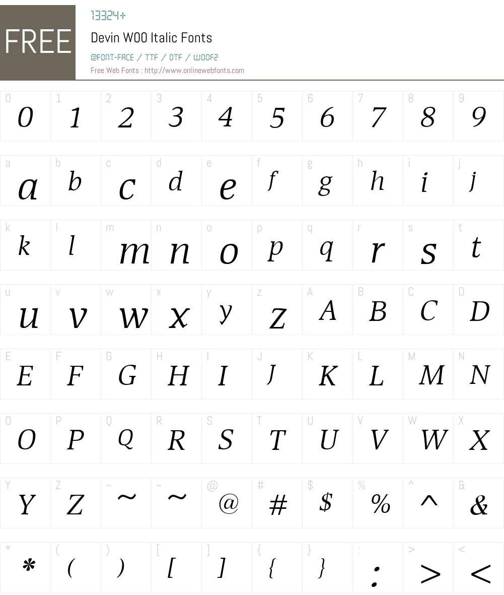 DevinW00-Italic Font Screenshots