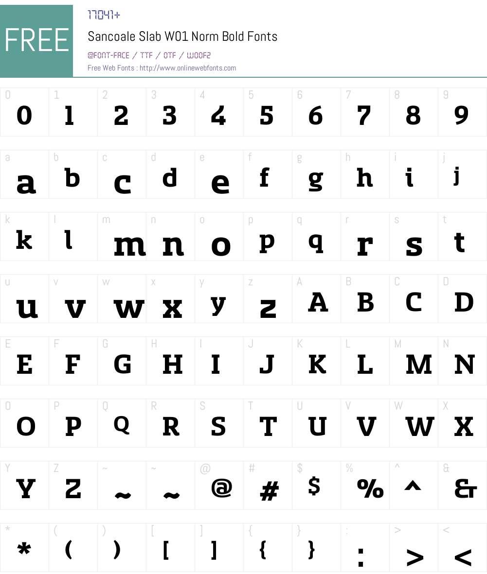 SancoaleSlabW01-NormBold Font Screenshots