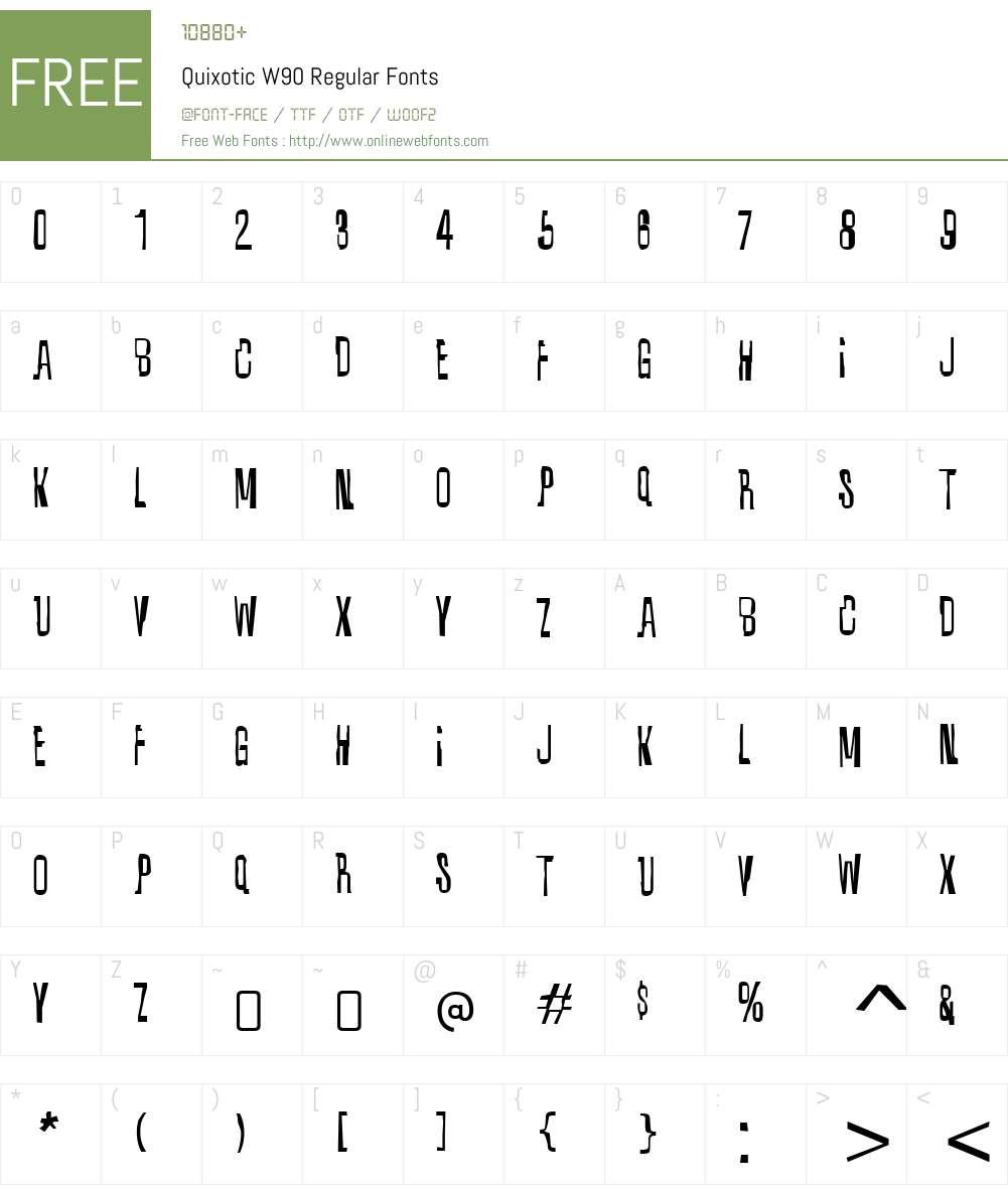 QuixoticW90-Regular Font Screenshots