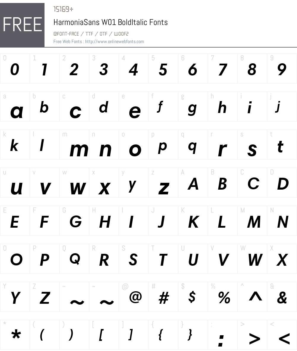 HarmoniaSansW01-BoldItalic Font Screenshots