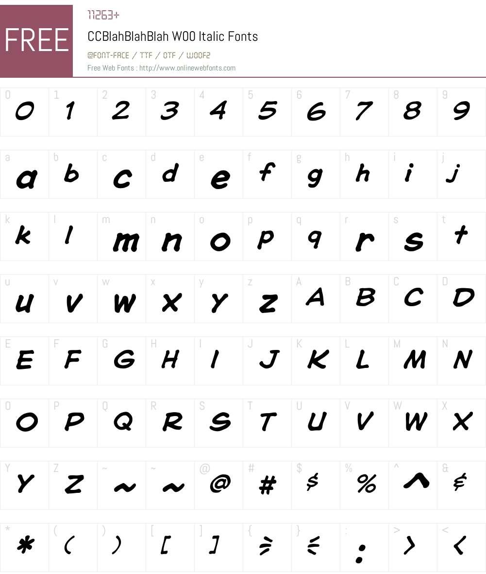 CCBlahBlahBlahW00-Italic Font Screenshots