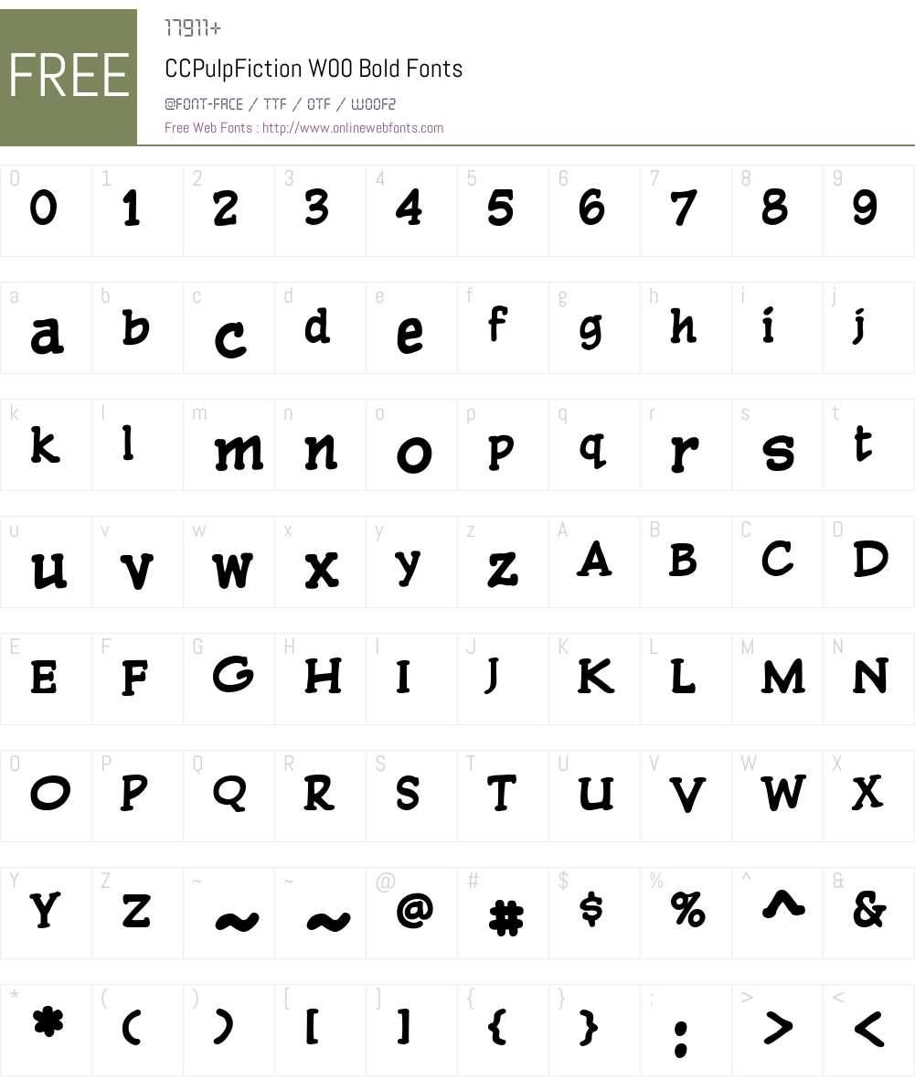 CCPulpFictionW00-Bold Font Screenshots