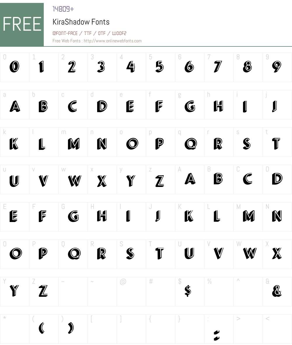 KiraShadow Font Screenshots