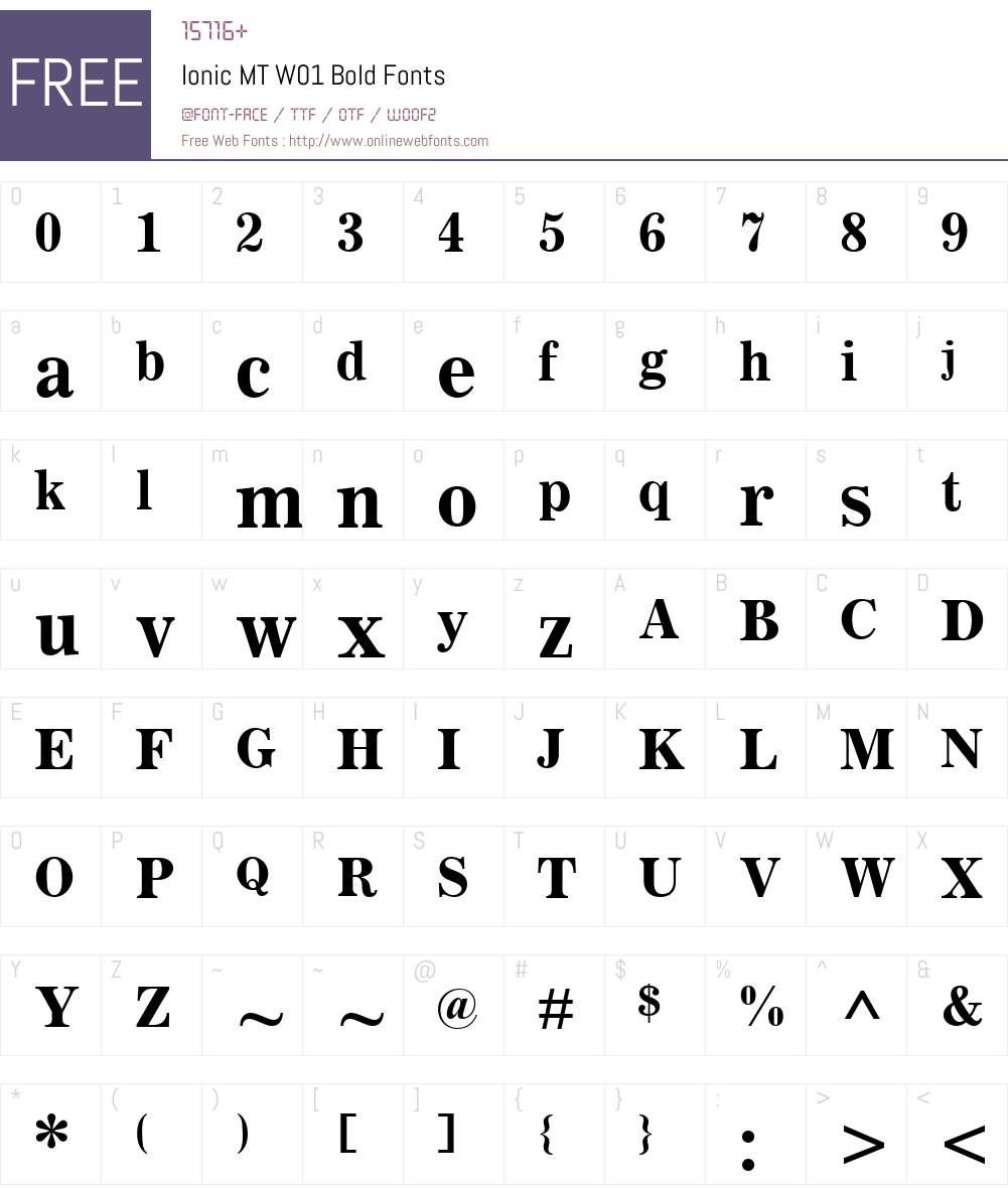 IonicMTW01-Bold Font Screenshots