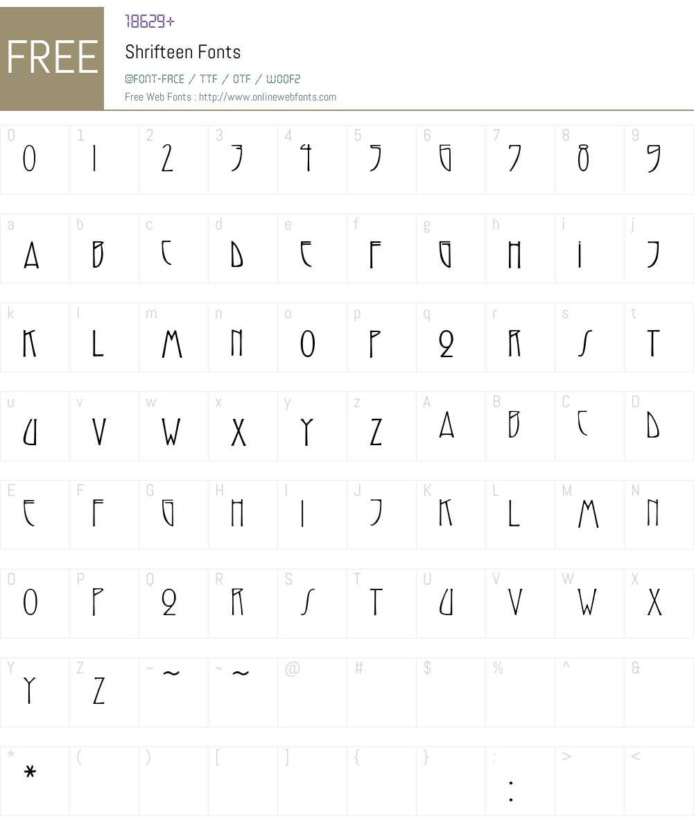 Shrifteen Font Screenshots