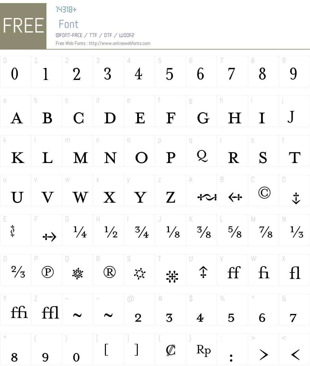 MrsEavesFractions Font Screenshots