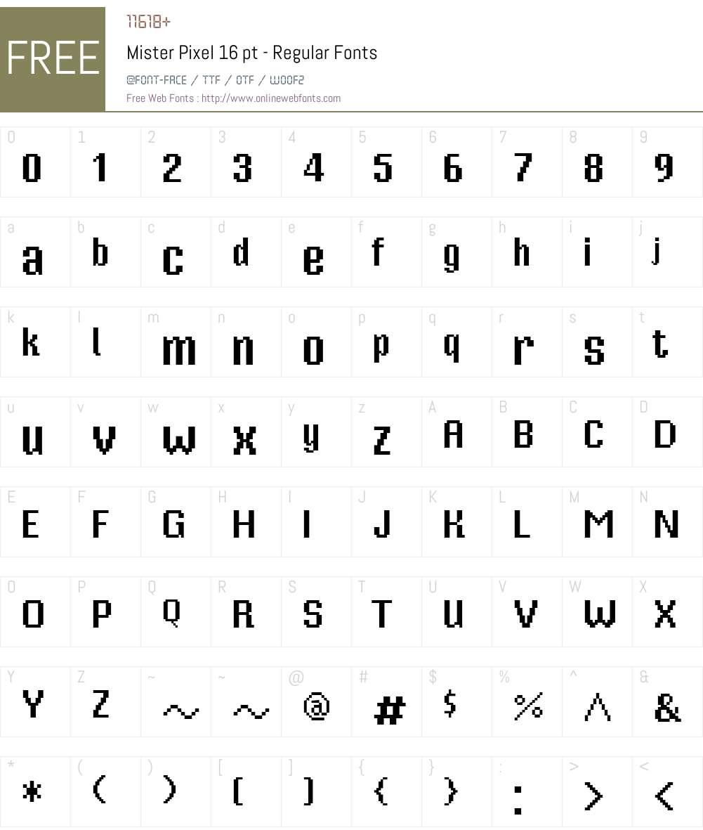 Mister Pixel 16 pt - Regular Font Screenshots
