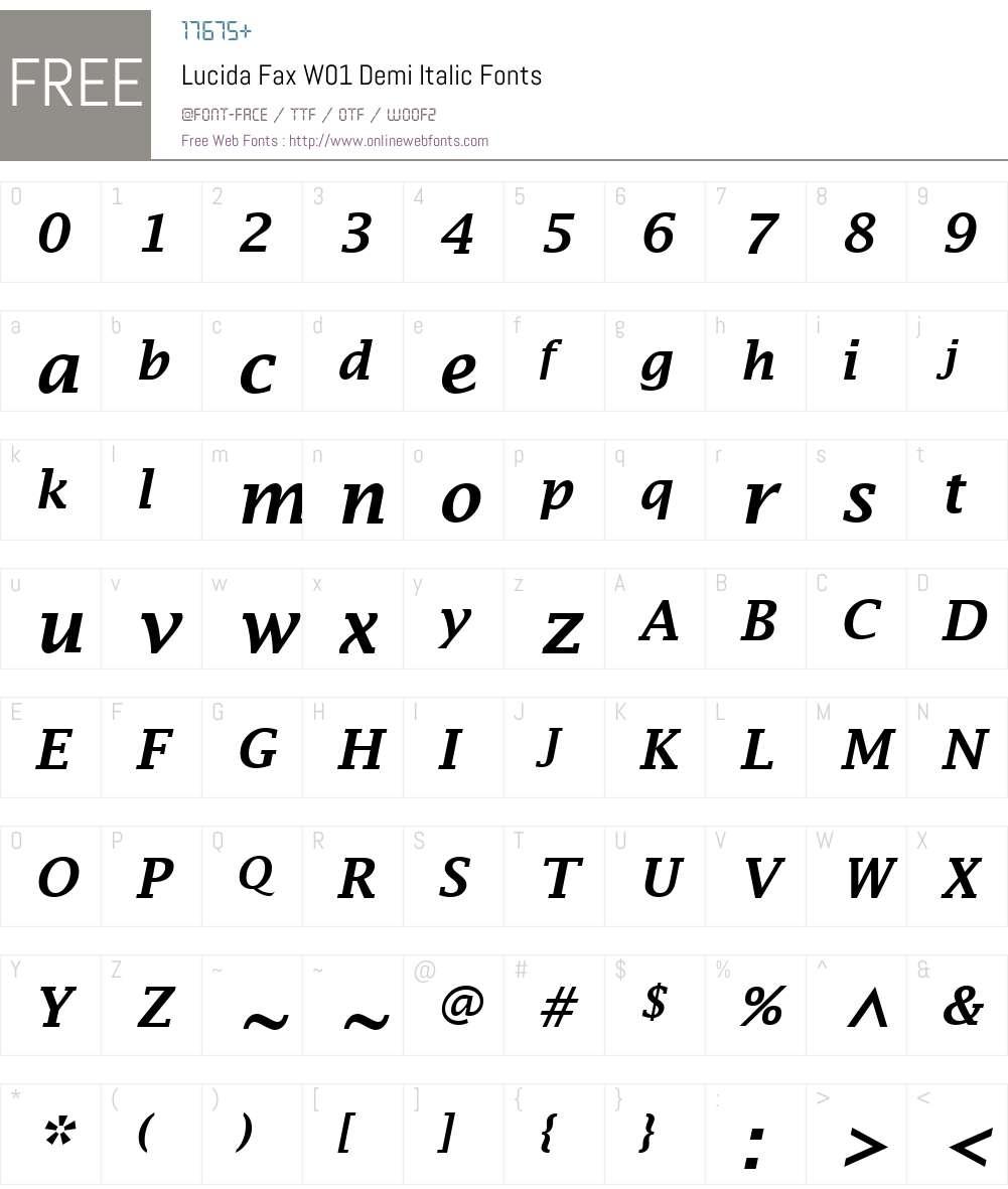 LucidaFaxW01-DemiItalic Font Screenshots